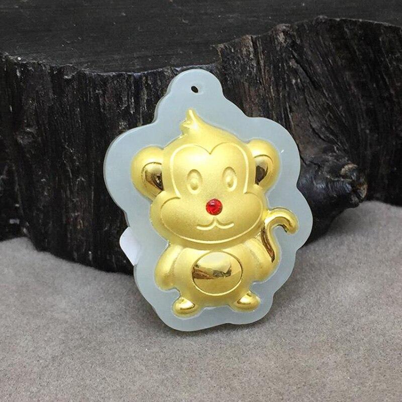 Yu xin yuan mode bijoux en or jade broderie sur le zodiaque chinois singe necknace pendentif à breloque pour les femmes hommes cadeaux