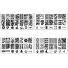 DIY Nail Art Stamp rectangle Template stainless steel Figure Image Plates Nail Stamp Plates