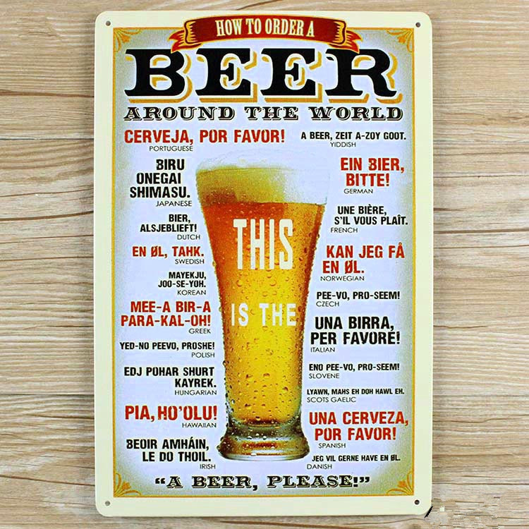 BEER aAund the world A-0080  metal painting  vintage home decor vintage Tin signs for bar vintage decorative plates  20x30cm