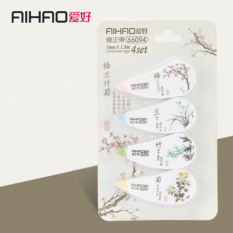 Free Shipping 4 Pcs/lot Chinese Style Correction Tape Cute Kawaii Flower Corrector Tape Korean Stationery
