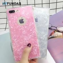 Coque iphone için kılıf 8 artı 7 6 6 S Artı X XS 5 5 S SE kabuklu deniz hayvanı kabuğu Glitter arka kapak iphone için kılıf 8 7 ...