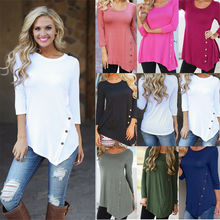 S-3XL Solid Color Shirt Womens Loose Long Sleeve Irregular Ladies Casual