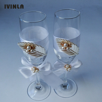 1 Pair/Lot pearl leaf wedding Champagne Toasting Glasses Set for wedding decoration