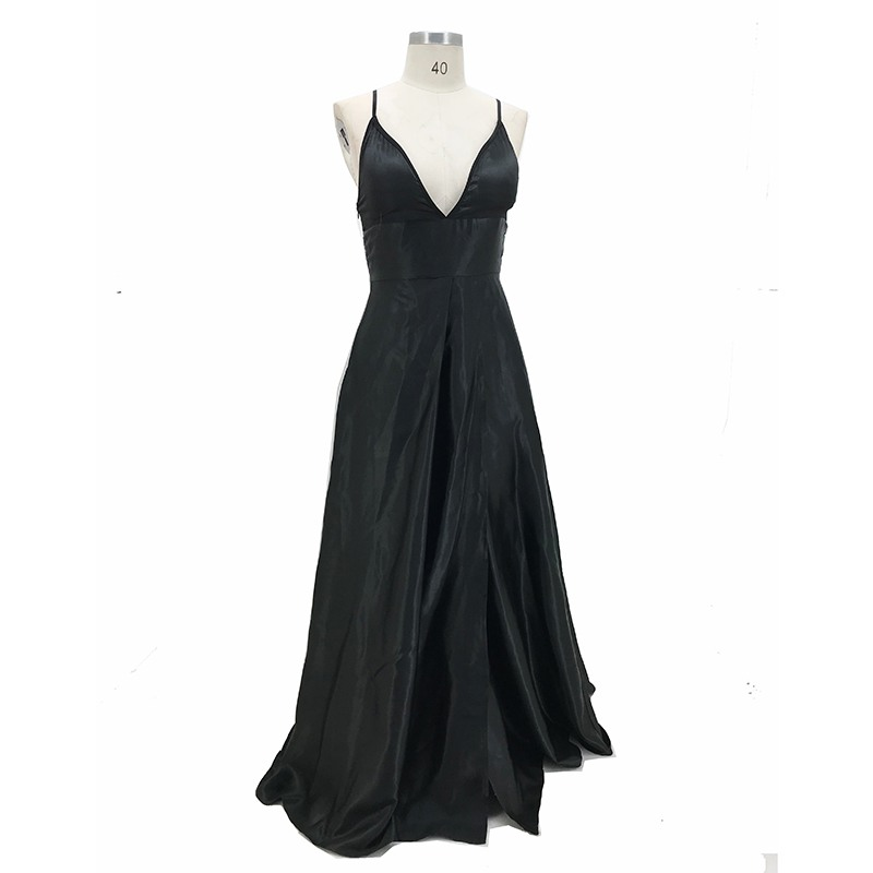 Women Sexy Maxi Dress Black Solid Spaghetti Strap Sexy Split Bare Leg Long Dress For Women Evening Party