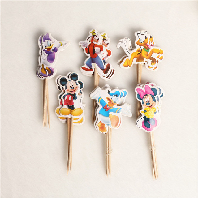48Pcs/lot 6 Designs Of Cartoon Cupcake Toppers Picks Mickey Mouse Party Decorations Baby Shower Kids Birthday Party Supply