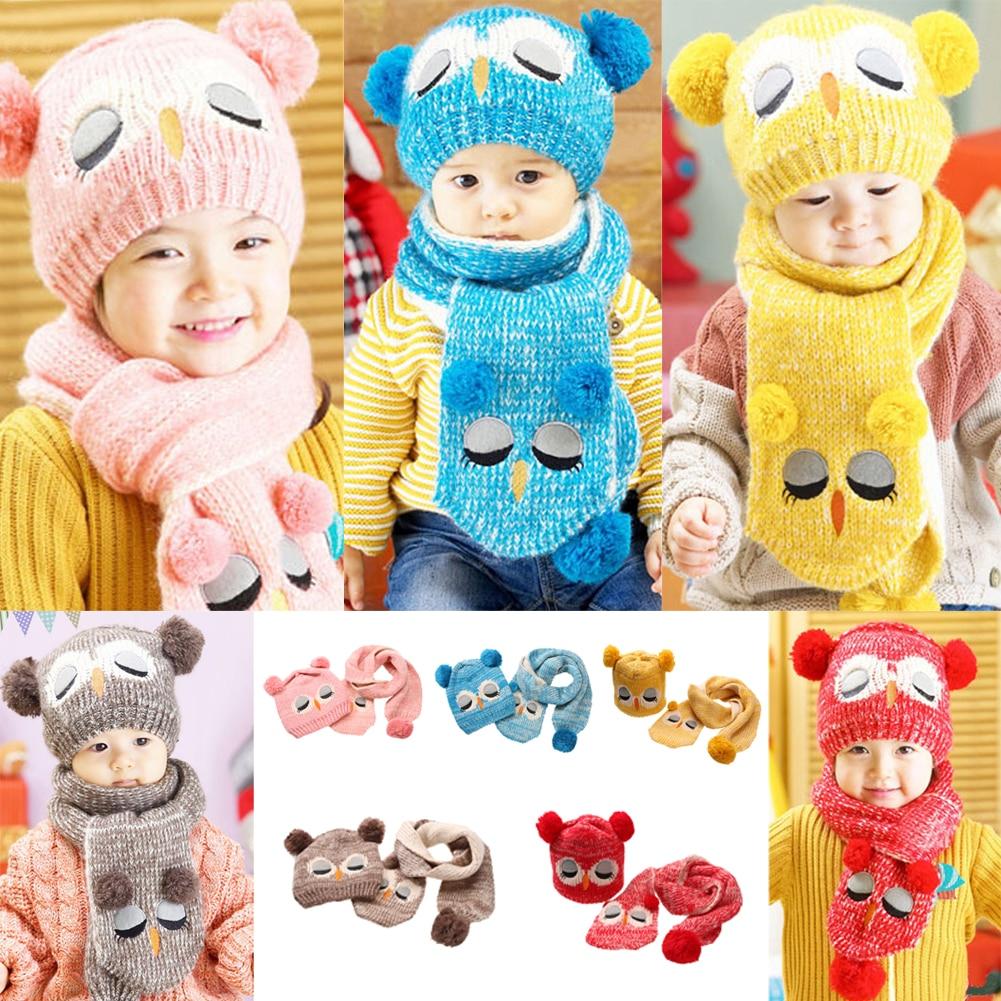 ba2e73396046 Hiver Bébé Enfants Garçon Filles Solide Caps Écharpe Chaud Coton laine  Tricoté Mignon Hibou Chapeau + Bonnet Écharpe 2 pcs ensemble Enfants  Cache-Cou Cap
