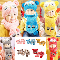 New Arrival Winter Kids Baby Boys Girls Solid Caps Scarf Warm Cotton Wool Knitted Cute Owl