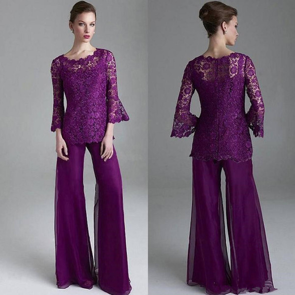 Classy Purple Navy Blue Lace Mother Of The Bride Pant