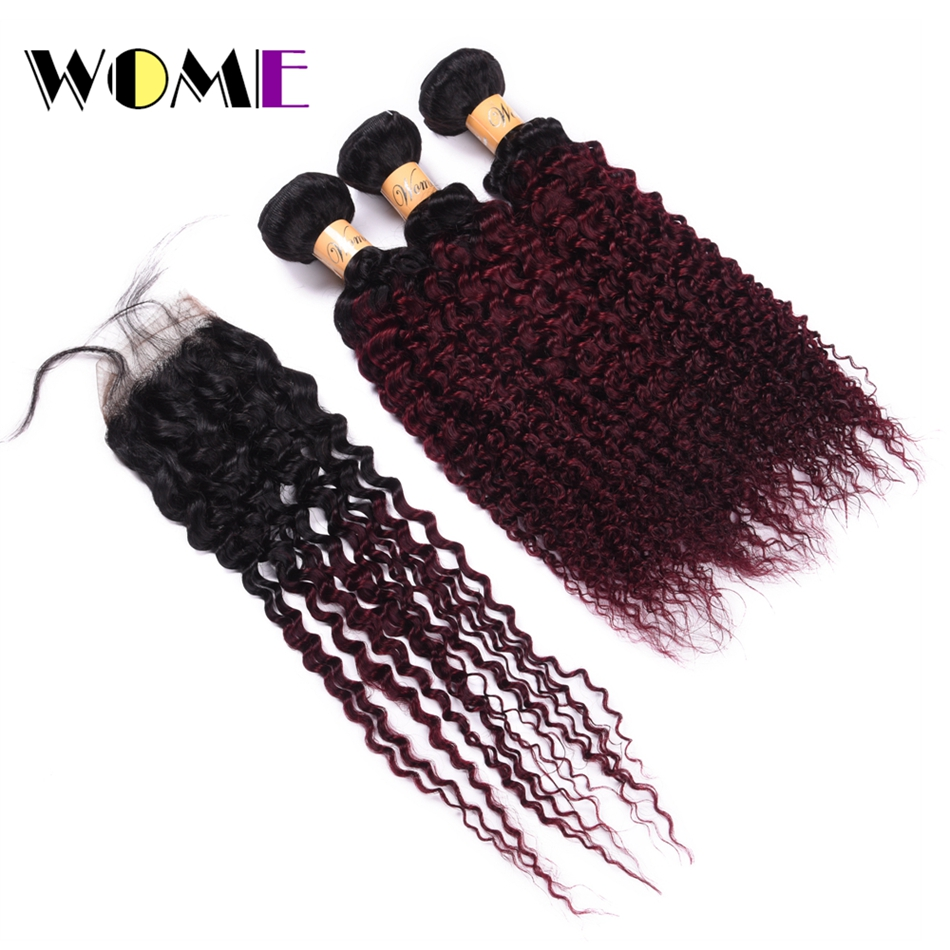 Wome Ombre Hair Two Tone Color Peruvian Kinky Curly Hair Bundles With Closure T1B/99J Human Hair Weaving Curl Hair Extensions