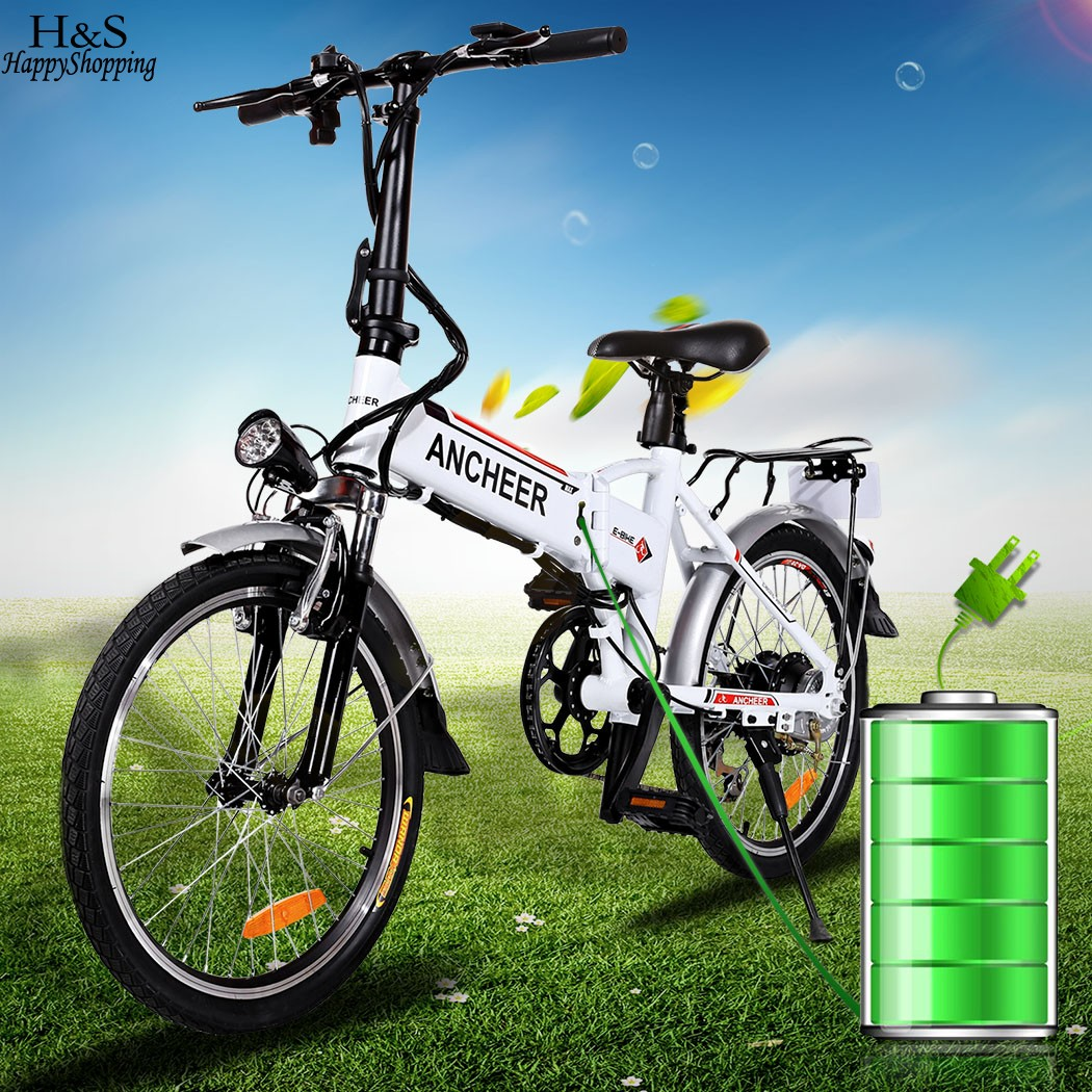 New bike 18.7 inch Aluminum Alloy Folding Bike Electric Bicycle Mountain Bike Road Cycling Bicycle White Unisex Hot sale rockbros titanium ti pedal spindle axle quick release for brompton folding bike bicycle bike parts