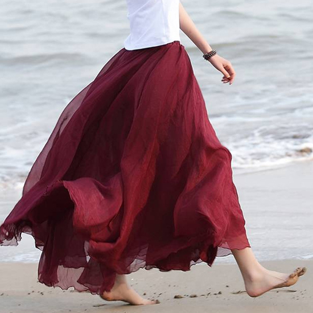 2019 Women Boho Chiffon Long Maxi Skirt Beach Casual Loose Sundress Lady High Wait Pleated A-line Solid Skirt Mulheres