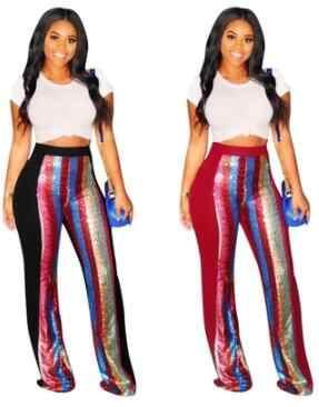 女性スパンコールパッチワークワイド脚パンツ女性黒赤ズボンキラキラパンタロンパーティーセクシーなハイウエストロングフレアパンツ DV283