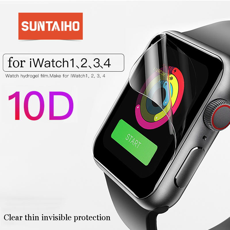 Suntaiho 10D Full Cover Protector film For Apple Watch Screen Protector 40 44mm for i Watch 4 film Series 1/2/3/4 not glass film-in Phone Screen Protectors from Cellphones & Telecommunications