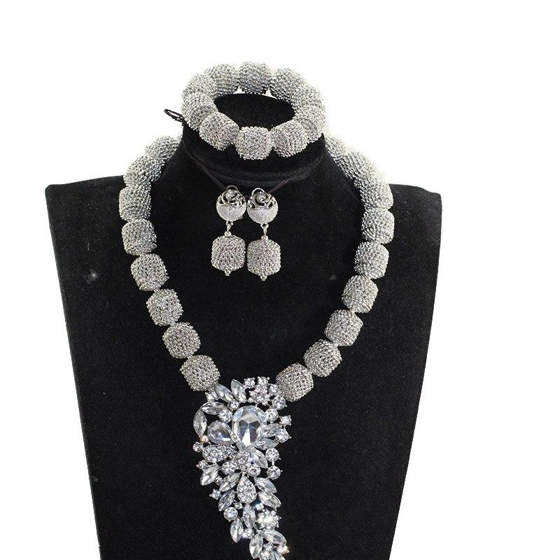 Nouveau ensemble de bijoux perles africaines mariage nigérian Chunky pendentif collier Dubai or ensembles de bijoux pour les femmes cadeau de mariée QW1295