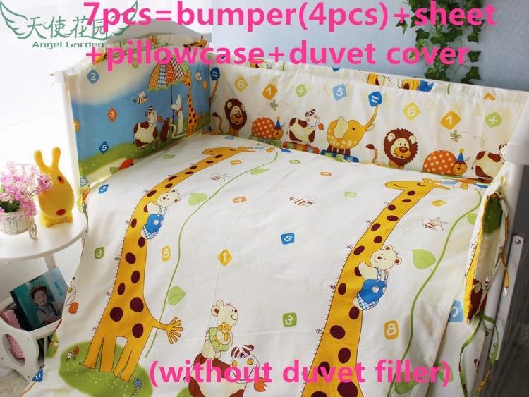 Discount! 6/7pcs Giraffe Home Textiles Cotton Girl Baby Bedding Set for Children Cradle,120*60/120*70cm discount 6 7pcs 100