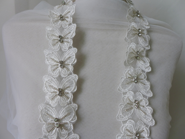 Yards exquisite off white beaded lace trims d butterfly pattern