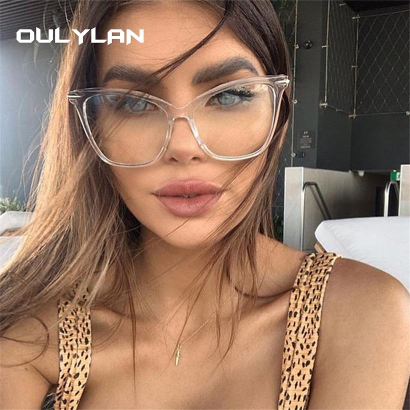 Oulylan Transparent Glasses Cat Eye Glasses Frames For Women Men Oversized Optical Eyeglasses Computer Eyewear