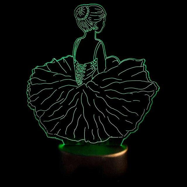 3D Led Bedroom Decor Night Lights Usb Dance Skirt Table Lamp Baby Sleep  Visual Ballet Girls Modelling Light Fixtures Kids Gifts f87a14cf1396