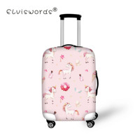 ELVISWORDS Cartoon Unicorn Luggage Protective Cover with Zipper Elastic Dust Protection Cover Cute Horse Trolley Suitcase Covers
