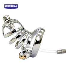 FRRK metal Chastity cage Stainless Steel  with catheter Device cock cages Male Chastity Belt Cock Cage Metal Penis Ring Sex toys stainless steel small male chastity belt adult cock cage with arc shaped cock ring sex toys for men chastity device