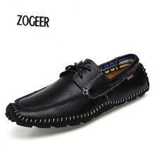 Bateau chaussures hommes véritable mocassin en cuir qualité parti de mariage chaussures hommes main couture loisirs chaussures de conduite mâle plus la taille EU38-47