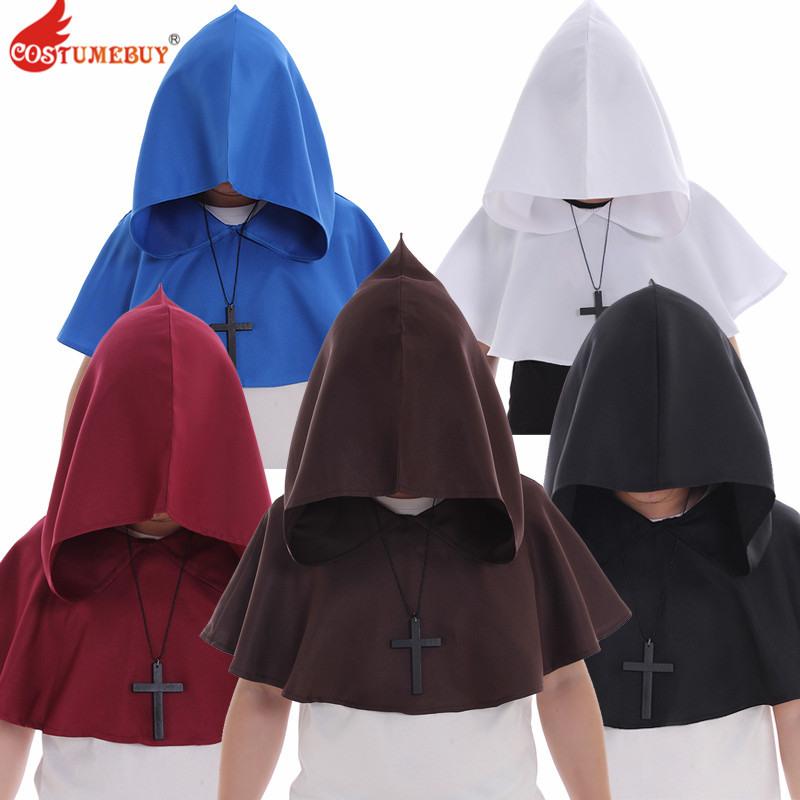 Costumebuy Medieval Renaissance Hood Polyester Capelet LARP Mantle Hat Cape Cosplay Accessory + Cross Necklace