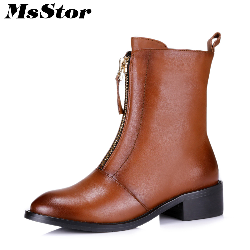 MsStor Round Toe Square Heel Boots Shoes Woman Casual Fashion Metal Zipper Ankle Boots Women Shoes Med Heel Bota Feminina Boots round toe flat heel zipper ankle boots