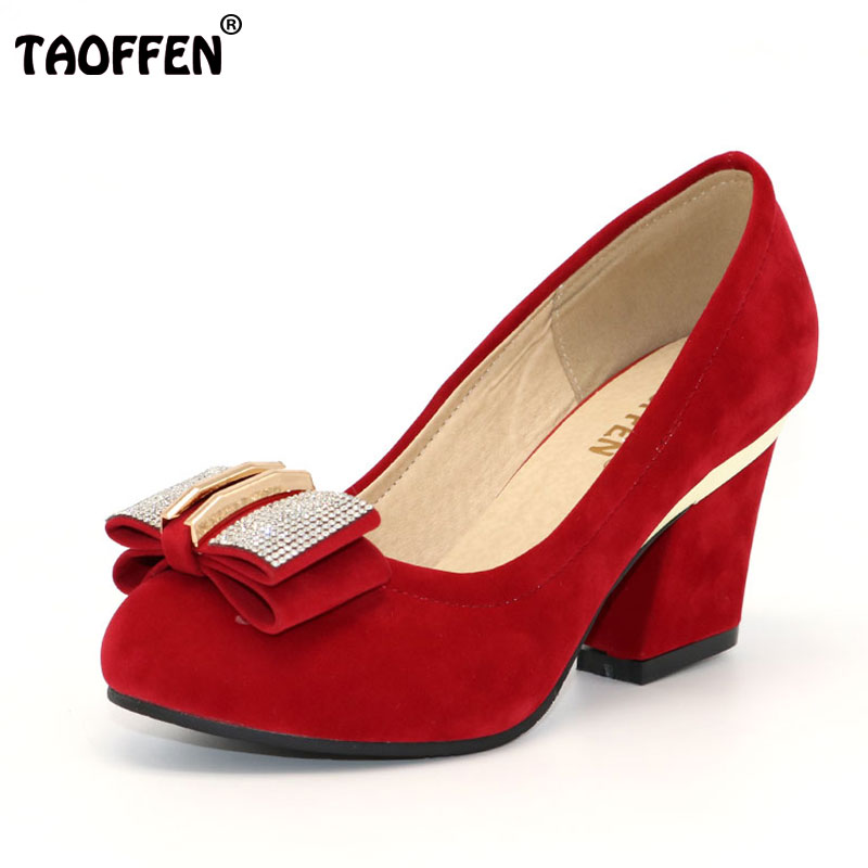 TAOFFEN women square high heel shoes platform sexy quality lady brand wedding fashion heeled pumps heels shoes size 32-43 P16691