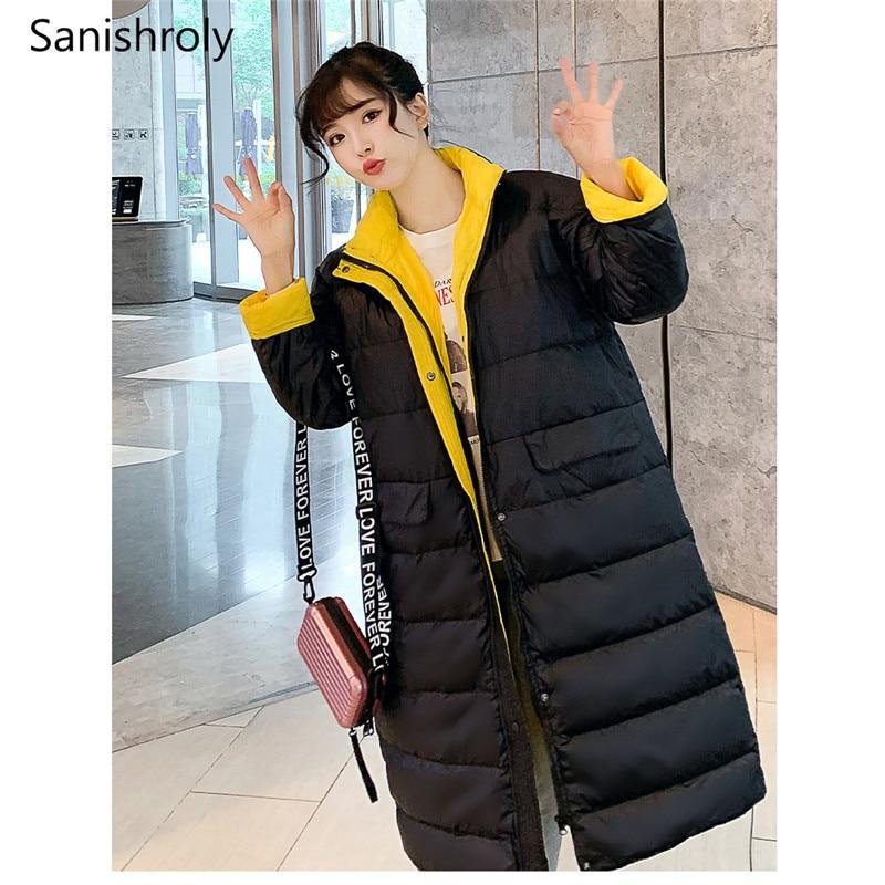 Sanishroly 2019 Autumn Winter Women Stand Collar Jacket Ultra Light White Duck   Down     Coat   Parka Female Midi Long Outerwear SE656
