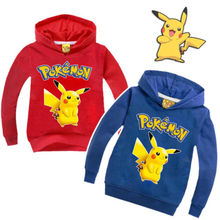 2016 New Pokemon Go Pikachu Baby Kids Boy Girls Cartoon Pull-over Coat Casual Autumn Winter Clothes Hoodies Jacket Tops