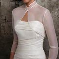 New White Organza High Neck Shawl Bolero Jacket For Evening Dresses Special Occasion Gown Button Neck