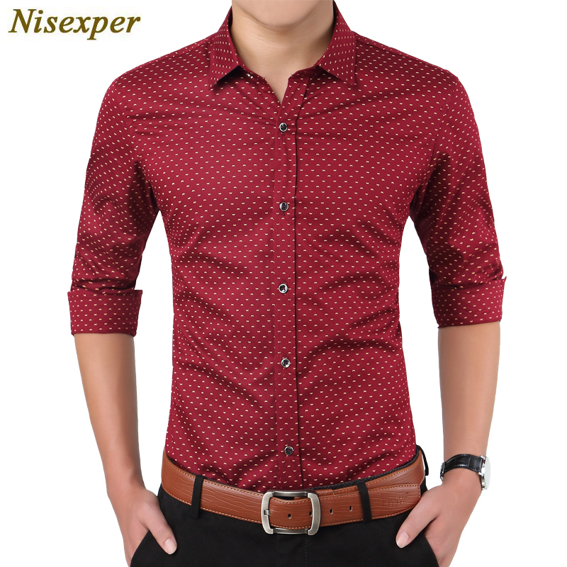 Men's Shirt Hot New Floral Printed Male Social Shirt Cotton Good Quality Solid Slim Fit Mens Casual Men Brand Clothing