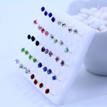 Fashion Cute Korean Round Rhinestone Crystal Piercing Stud Earrings 20 Pairs/pack Mix Color