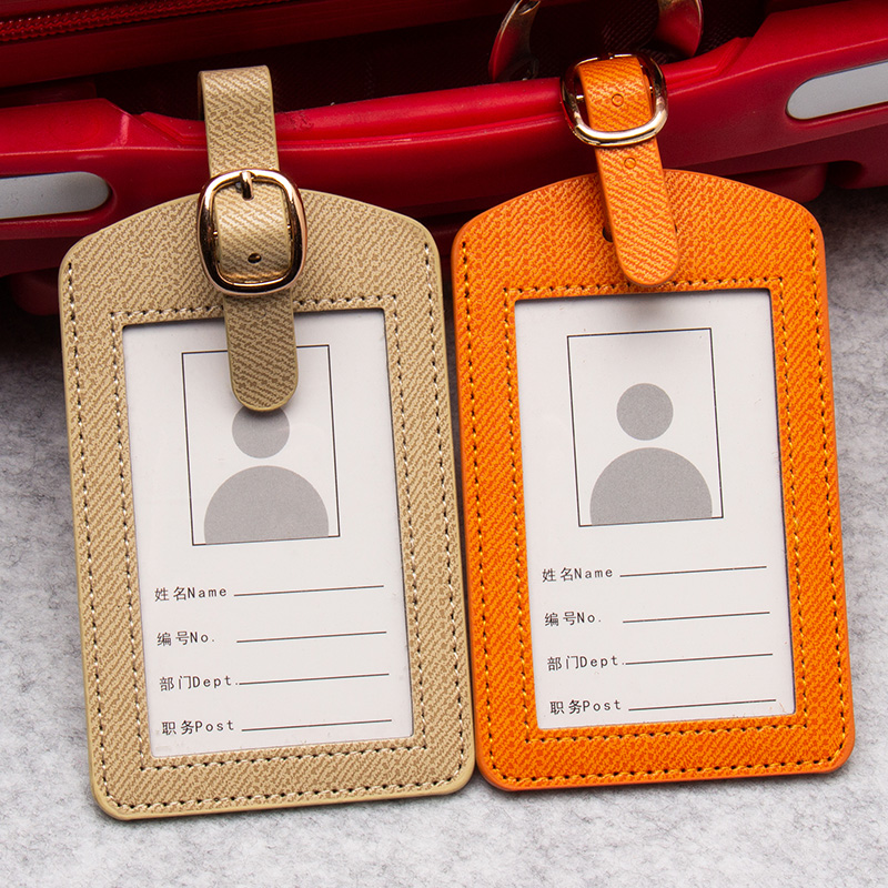 Orange Striped Colorful Belts Fashion PU Leather Luggage Tags Baggage Name Tags Suitcase Address Label Holder Travel Accessories