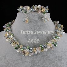 Новинка,, длина 19''Grade AA Crystal 8-9 мм, смешанные цвета, натуральный пресноводный жемчуг, ожерелье, 4 ряда, ювелирный набор