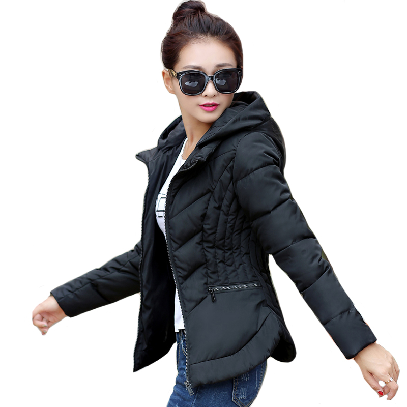 Solid Color Slim Winter Jacket Women Hooded Stand Collar Womens Winter Jackets Female Coat Short   Parka   Casaco Feminino Inverno