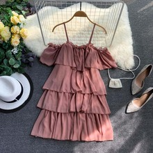 NiceMix New Women Tulle Dress Summer Sexy Off-the-shoulder Mesh Dress Hem Pleated Vacation Cake Dress Female Slim Fairy Dresses