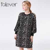 Fashion Women S Autumn Leopard Printed Dress Casual Black O Neck Long Sleeve Loose Dresses Elegant