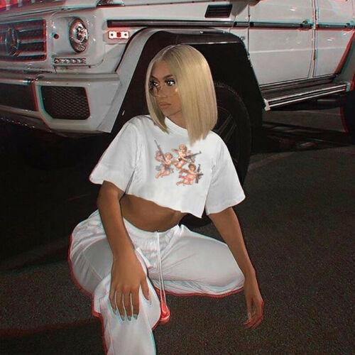 Angel Print Women Short Sleeve Casual Loose T-Shirt Woman Crop Tee Short Tops 2019 Summer Tshirt Streetwear Feminina Camiseta