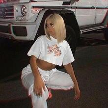 Angel Print Women Short Sleeve Casual Loose T-Shirt Woman Crop Tee Short Tops 2019 Summer T