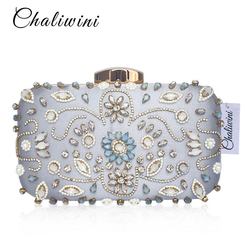 Vintage Floral Beading Women Wedding Bag Chain Shoulder Diamond Party Wallet Bolsa Feminina Handbags Purse Evening Clutch Bag