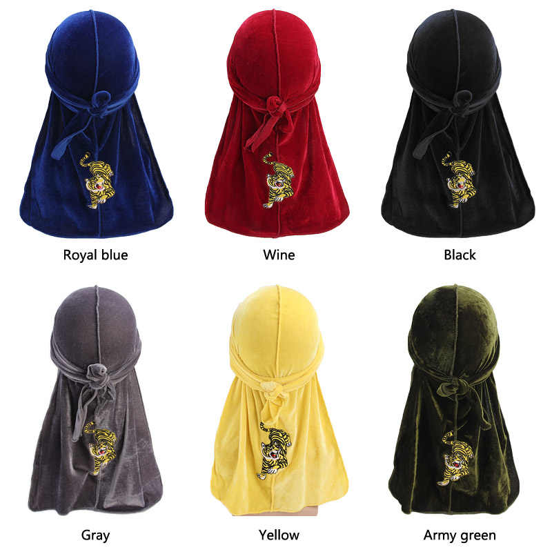 82b2e89cae42b5 New tiger pattern embroidery Durag Turban headwrap doo do rag Bandanas  Headwear Headband Hair Cover Accessories