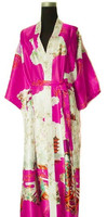 Hot Selling Hot Pink Mujer Pijama Ladies Silk Rayon Robe Kimono Bath Gown Nightgown Size S