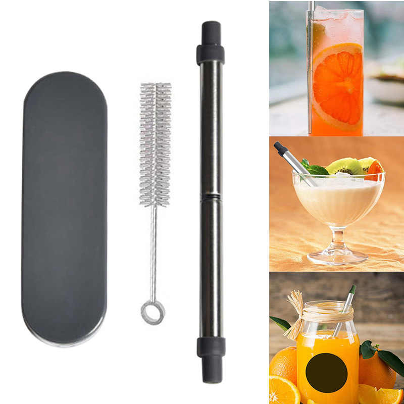 Reusable Collapsible Drinking Straws Stainless Steel Straw with Brush Portable Storage Box can CSV