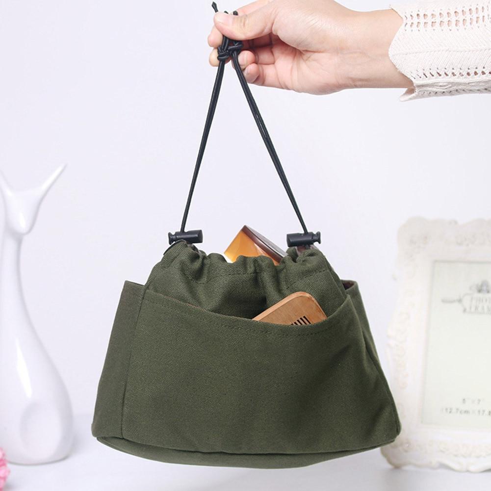 Canvas Purse Organizer Bag Organizer Insert with Compartments Makeup Travel Storage Handbag New