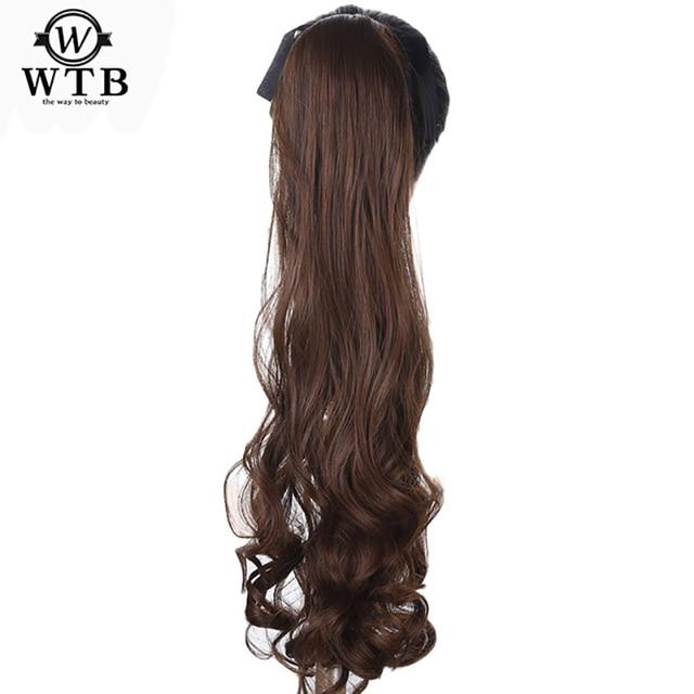 Pinza WTB en extensiones de cabello sintético cola de pelo largo ondulado resistente al calor Cola de Caballo peinados falsos