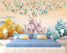 beibehang HD hand-painted elk three-dimensional relief personalized 3d wallpaper tree Nordic minimalist background wall paper