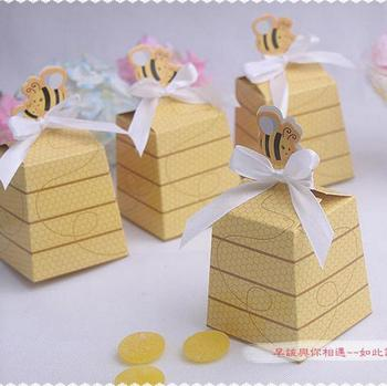 Wholesale 200pcs/lot Honeybee Design Children Candy Chocolate Cookies Box Wedding Favor Gift Boxes Baby Shower Candy Box