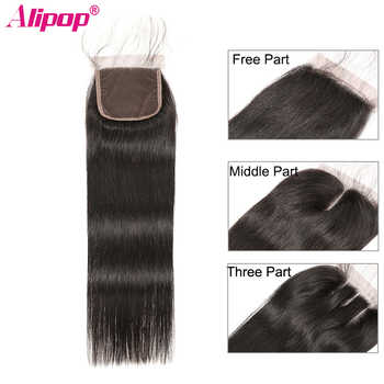 Peruvian Straight Closure 100% Remy Human Hair Lace Closure Top Swiss Lace Closure Free Middle Three Part Natural Color ALIPOP - DISCOUNT ITEM  46% OFF All Category