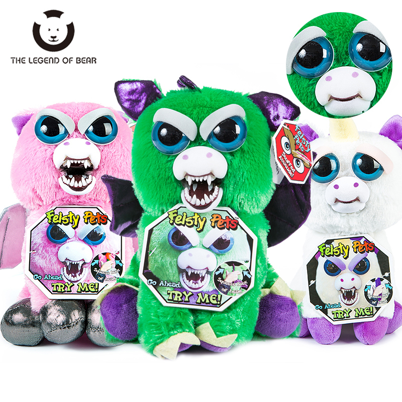 Toys 2018 New Feisty Pets Roaring Angry Toy Children Gift Change Face Stuffed Animal Doll Plush Toys For Kids Cute Prank toy